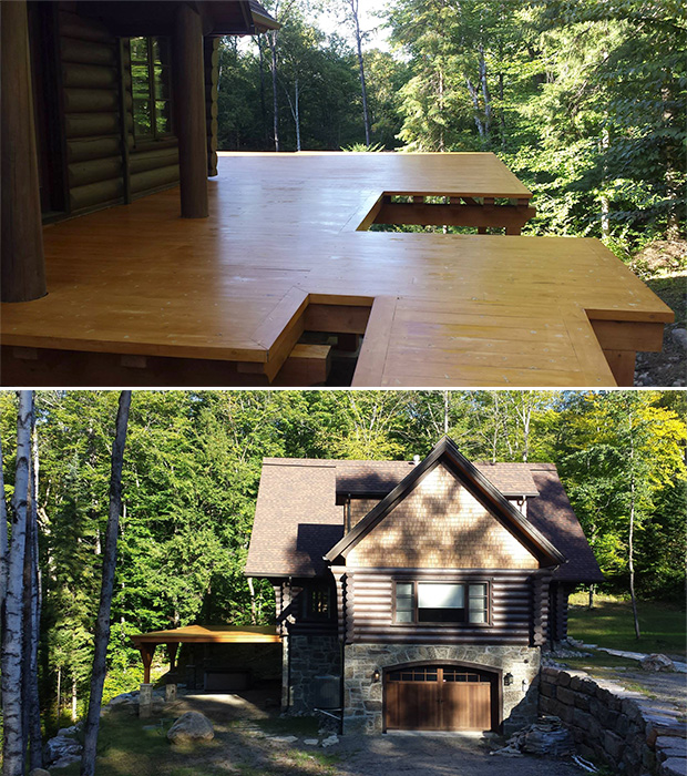 deck staining in Mont tremblant