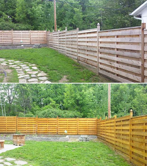 before and after fence stain job in aylmer Québec