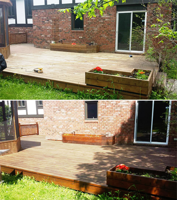 before and after deck stain in chelsea