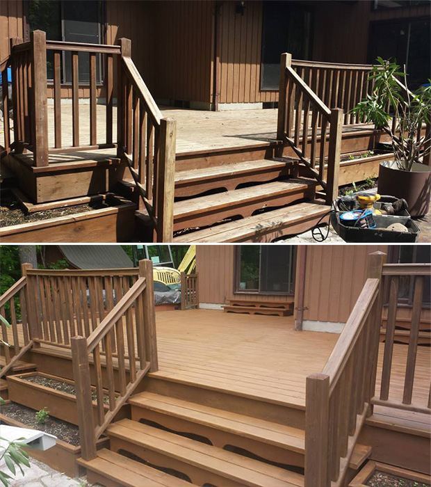 deck stain before and after