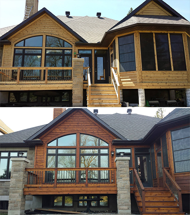sanded and stained house in Ottawa