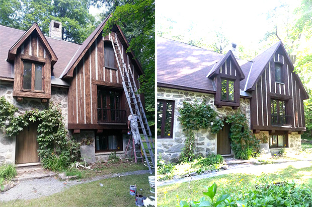 before and after exterior log stainning in chelsea