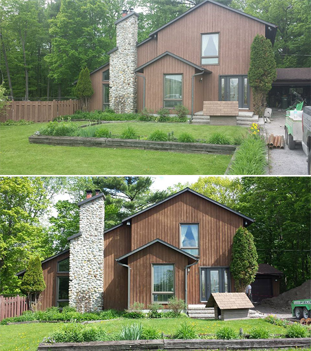 before and after wood stainning in Ottawa